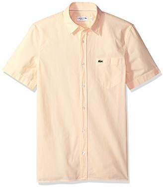 Lacoste Men's Short Sleeve Seersucker Button Down Collar Reg Fit Woven Shirt