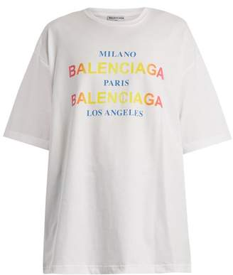 Balenciaga Logo and city-print cotton T-shirt