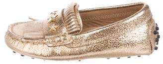 Tod's Girls' Leather Fringed Loafers
