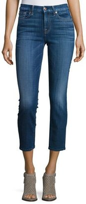 7 For All Mankind Kimmie Cropped Skinny Jeans, Brilliant Blue Broken Twill $189 thestylecure.com