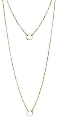Elli Women Genuine Jewellery Necklaces Sautoir Neckwear Circle Basic 925 Sterling Silver Gold Plated 7 cm