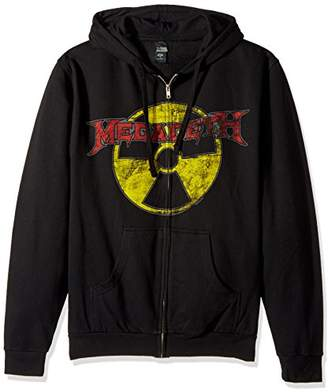 FEA Men's Megadeth Distressed Radioactive Logo Zip Hoodie