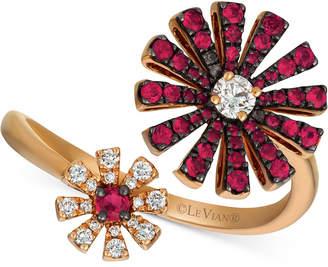 LeVian Le Vian Certified Ruby (1/2 ct. t.w.) & Diamond (1/5 ct. t.w.) Flower Statement Ring in 14k Rose Gold