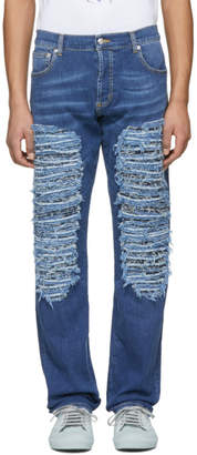 Alexander McQueen Blue Heavy Destroyed Jeans