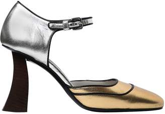 Marni 90mm Metallic Leather Mary Jane Pumps