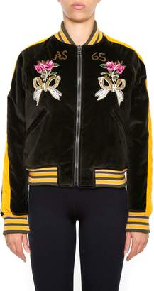 As65 AS65 Bomber Jacket With Embroidered Panther And Flowers