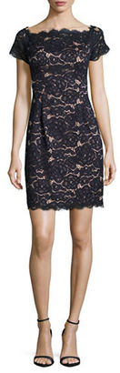 Adrianna Papell Cap-Sleeve Lace Sheath Dress $160 thestylecure.com