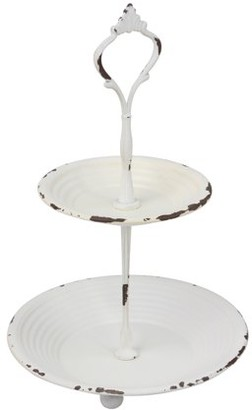 STONEBRIAR COLLECTION Shabby Chic Worn White Painted 2 Tier Metal Serving Tray with Handle