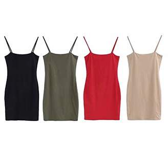 UVAN ART Women's Summer Strap Dress Sleeveless Tight Dress Mini Bodycon Tank Club Dress