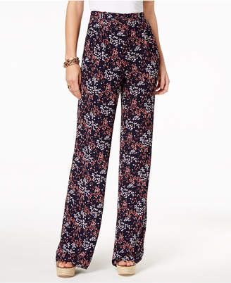 Michael Kors Floral-Print Wide-Leg Pleated Pants