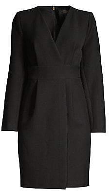 Donna Karan Women's Long Sleeve Faux Wrap Dress - Size 0