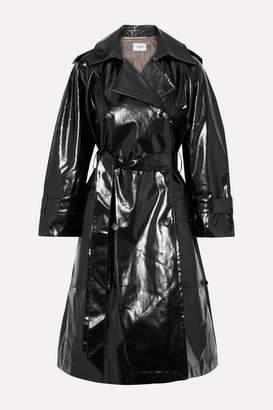 Nanushka Ambar Belted Vinyl Trench Coat - Black