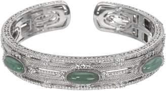 Judith Ripka Sterling Oval Jade Cabochon Cuff Bracelet