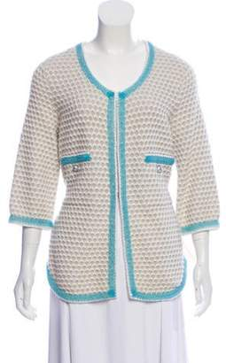 Chanel Cashmere Textured Cardigan White Cashmere Textured Cardigan