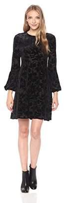 Taylor Dresses Women's Velvet Burnout Dress with Ballon Sleeves