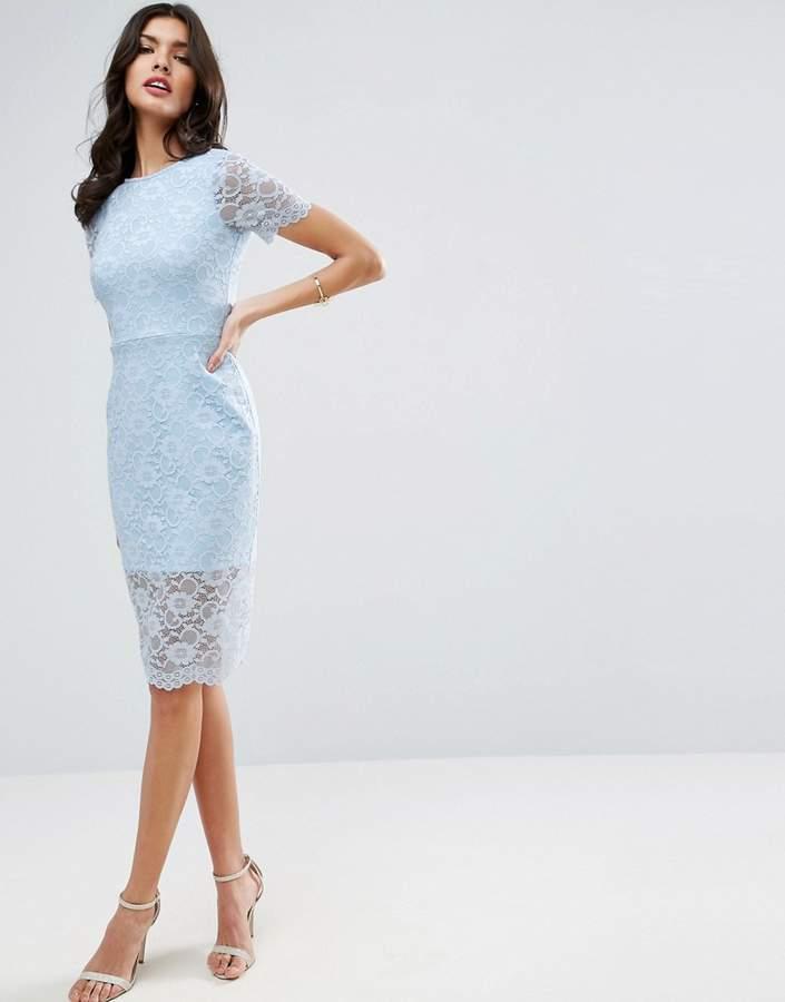 AsosASOS Lace Scallop T-Shirt Midi Bodycon Dress