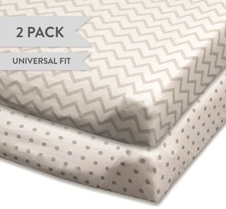 Ely's & Co. Changing Pad Cover Set | Cradle Sheet Set 100% Cotton Jersey Knit 2 Pack Grey and White Chevron and Polka Dots
