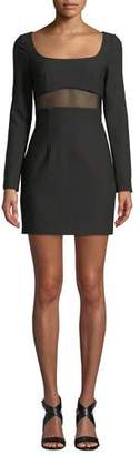 Cinq à Sept Celia Mesh-Panel Long-Sleeve Cocktail Dress