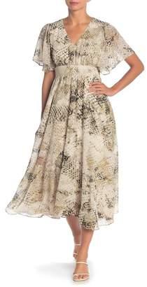 London Times Flutter Sleeve Smock Dress