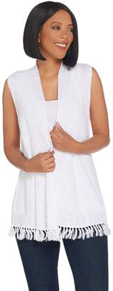 Susan Graver Linen Cotton Sweater Vest with Fringe