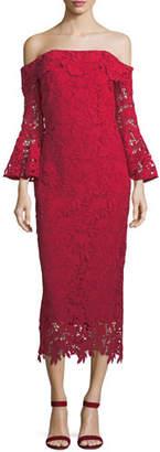 Shoshanna Harrison Lace Trumpet-Sleeve Cocktail Dress