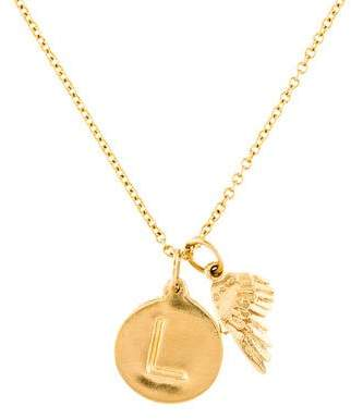 Helen Ficalora 14K Initial 'L' & Mini Angel Wing Charm Necklace