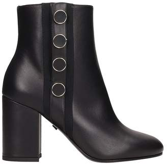 Grey Mer Black Leather Ankle Boots