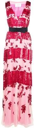 Carolina Herrera striped sequin-embroidery gown