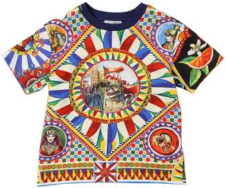 Dolce & Gabbana Carretto Print Cotton Jersey T-Shirt