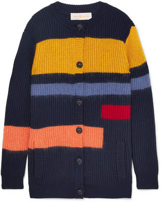 Tory Burch Color-block Merino Wool-blend Cardigan - Navy