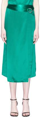 Dion Lee Buckled mulberry silk satin mock wrap midi skirt