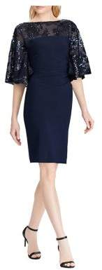 Lauren Ralph Lauren Slim Fit Metallic Floral Sheer Yoke Dress