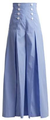 Sara Battaglia Wide Leg Striped Cotton Trousers - Womens - Blue White