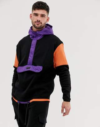 Bershka colour block hoodie with front pocket in black