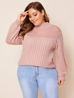 Shein Plus Solid Cable-knit Stand Collar Sweater