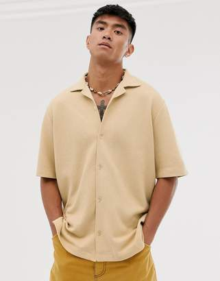 Asos loose fit shirt in texture with revere collar in camel