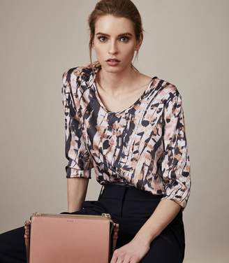Reiss Helena Printed Silk-Front Top