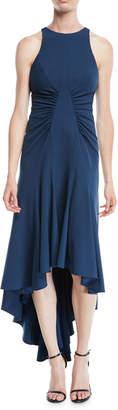 Halston High-Low Halter Dress w/ Ruched Details