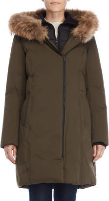 Soia & Kyo Real Fur Collar Bibbed Down Coat