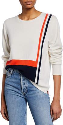 Kule Striped Crewneck Long-Sleeve Cashmere Top