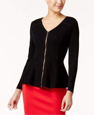 Thalia Sodi Zip-Front Peplum Sweater