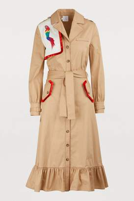 Stella Jean Cotton coat with parrot embroidery
