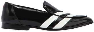 Joshua Sanders White Striped Leather Loafers