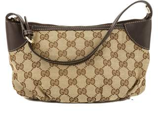 Gucci Brown Leather GG Monogram Canvas Guccisima Pochette Bag (3814009)