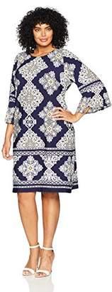 Sandra Darren Women's Plus Size 1 PC 3/4 Sleeve Diamond Printed ITY Shift Dress