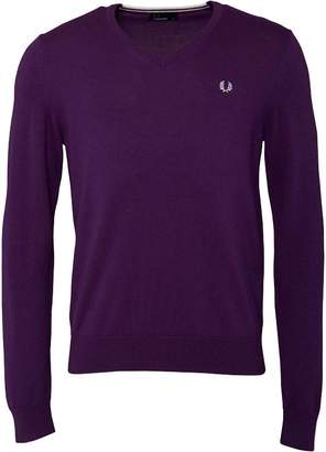 Fred Perry Mens Classic Tipped V-Neck Mulberry