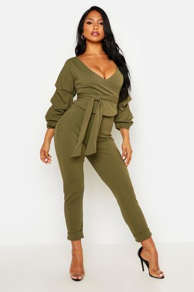 boohoo Wrap Rouche Top & Trouser Co-Ord Set