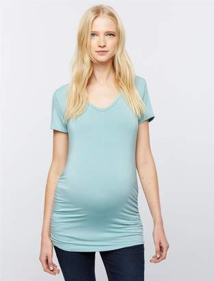 A Pea in the Pod V Scoop Neck Side Ruched Maternity Tee