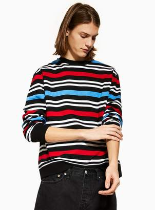 Topman Black, Red and White Stripe Sweatshirt