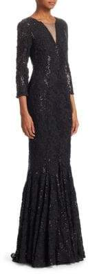 Talbot Runhof Sequin Lace Mermaid Gown